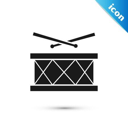 Black Drum with drum sticks icon isolated on white background. Music sign. Musical instrument symbol. Vector Illustration Ilustração