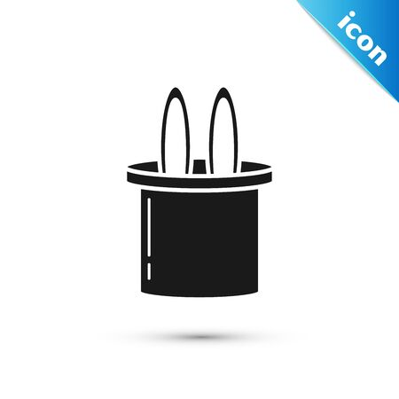 Black Magician hat and rabbit ears icon isolated on white background. Magic trick. Mystery entertainment concept. Vector Illustration