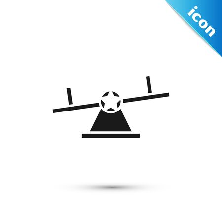 Black Seesaw icon isolated on white background. Teeter equal board. Playground symbol. Vector Illustration