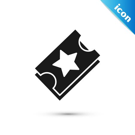Black Ticket icon isolated on white background. Amusement park. Vector Illustration Vektoros illusztráció