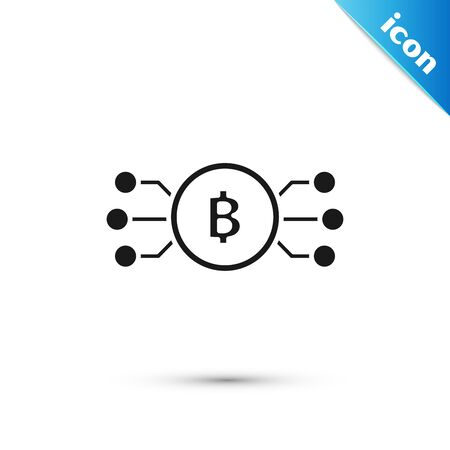 Black Cryptocurrency bitcoin in circle with microchip circuit icon isolated on white background. Blockchain technology, digital money market. Vector Illustration  イラスト・ベクター素材