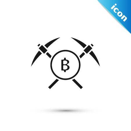 Black Crossed pickaxe icon isolated on white background. Blockchain technology, cryptocurrency mining, bitcoin, altcoins, digital money market. Vector Illustration