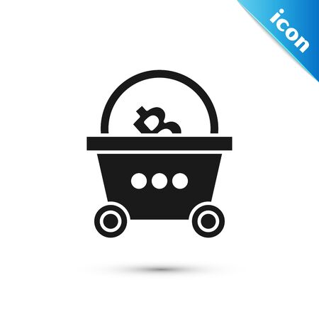 Black Shopping basket with bitcoin icon isolated on white background. Blockchain technology, cryptocurrency mining, digital money market. Vector Illustration