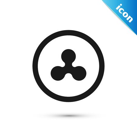 Black Cryptocurrency coin Ripple XRP icon isolated on white background. Altcoin symbol. Blockchain based secure crypto currency. Vector Illustration Illustration