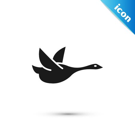Black Flying duck icon isolated on white background. Vector Illustration