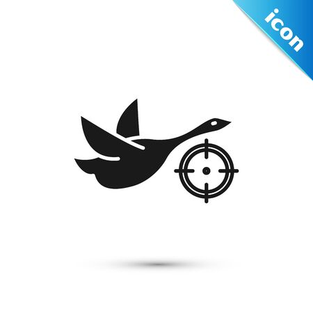 Black Hunt on duck with crosshairs icon isolated on white background. Hunting club with duck and target. Rifle lens aiming a duck. Vector Illustration