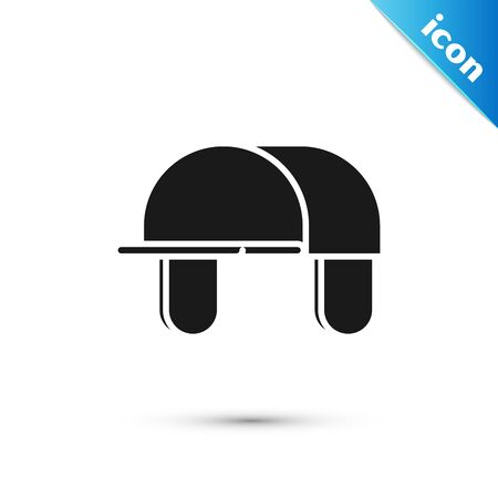 Black Hunter hat icon isolated on white background. Plaid winter hat. Vector Illustration