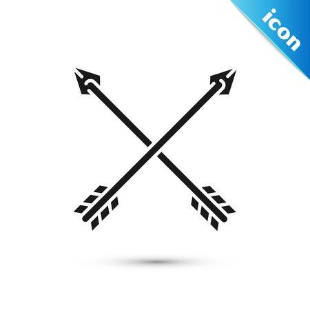 Black Crossed arrows icon isolated on white background. Vector Illustration Ilustração