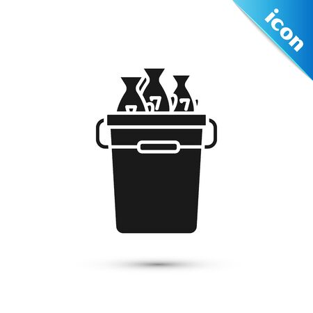 Black Fishing bucket with fishes icon isolated on white background. Fish in a bucket. Vector Illustration