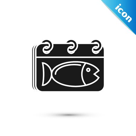 Black Calendar with a fish icon isolated on white background. Day of fish. Vector Illustration Ilustração