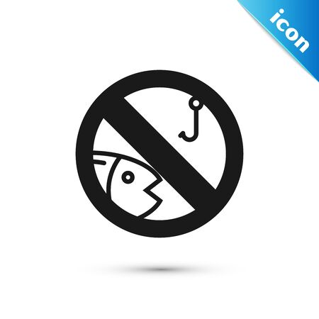 Black No fishing icon isolated on white background. Prohibition sign. Vector Illustration
