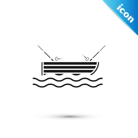 Black Fishing boat with fishing rod on water icon isolated on white background. Vector Illustration Ilustração