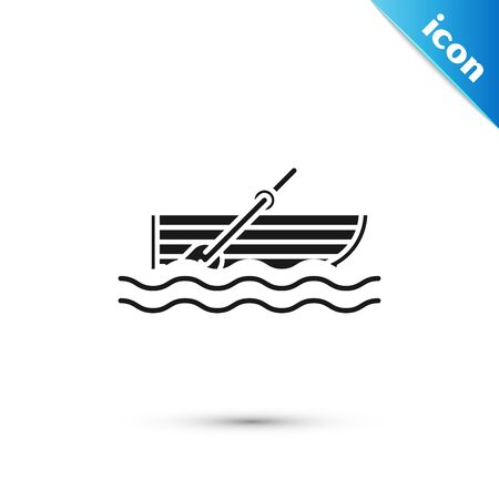 Black Fishing boat with oars on water icon isolated on white background. Vector Illustration