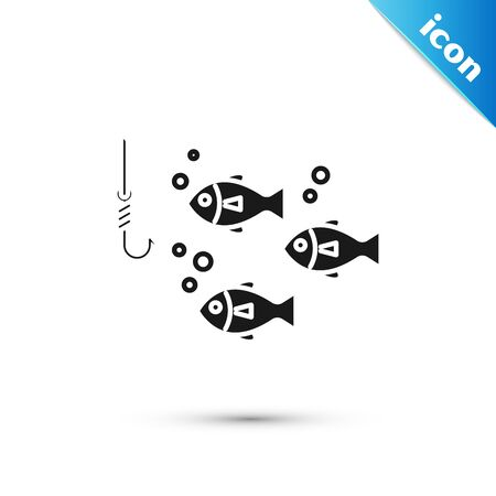 Black Fishing hook under water with fish icon isolated on white background. Fishing tackle. Vector Illustration