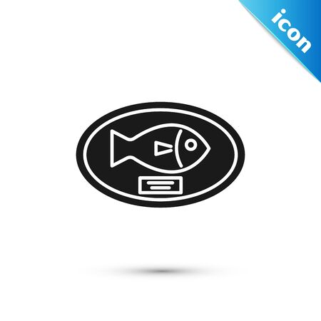 Black Fish trophy hanging on the board icon isolated on white background. Fishing trophy on wall. Vector Illustration 向量圖像