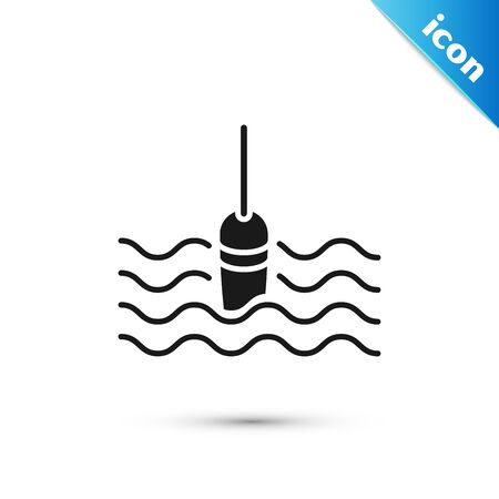 Black Fishing float in water icon isolated on white background. Fishing tackle. Vector Illustration 向量圖像