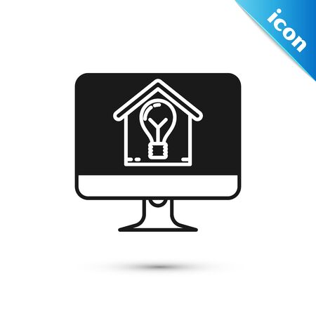 Black Computer monitor with smart house and light bulb icon isolated on white background. Vector Illustration