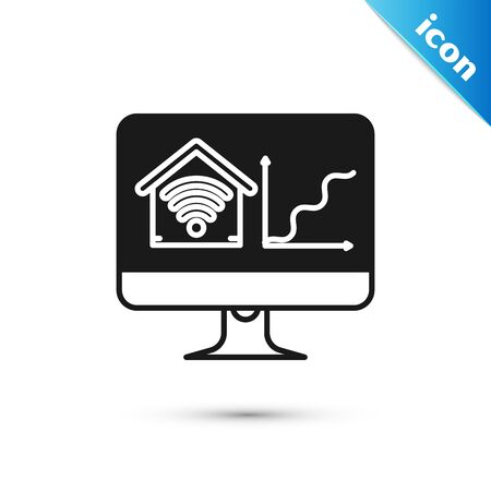 Black Computer monitor with smart home with wifi icon isolated on white background. Remote control. Vector Illustration