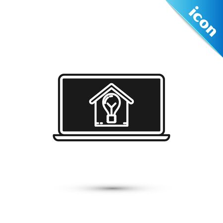 Black Laptop with smart house and light bulb icon isolated on white background. Vector Illustration Ilustração