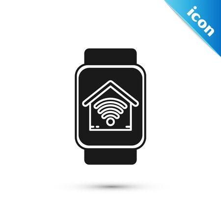 Black Smart watch with smart home with wifi icon isolated on white background. Remote control. Vector Illustration Ilustração