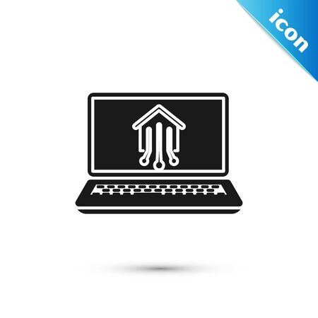 Black Laptop with smart home icon isolated on white background. Remote control. Vector Illustration