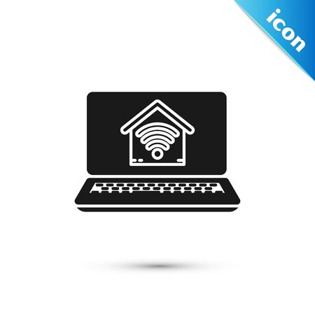 Black Laptop with smart home with wifi icon isolated on white background. Remote control. Vector Illustration
