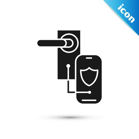 Black Digital door lock with wireless technology for lock icon isolated on white background. Door handle sign. Security smart home. Vector Illustration