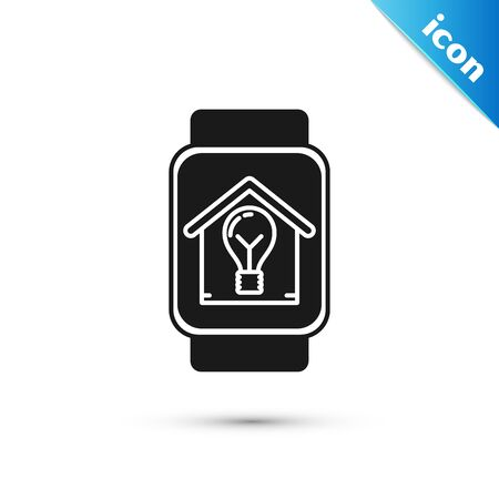 Black Smart watch with smart house and light bulb icon isolated on white background. Vector Illustration