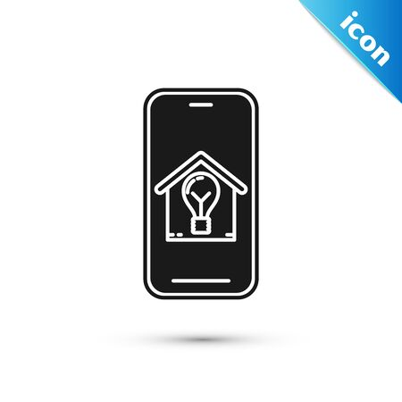 Black Mobile phone with smart house and light bulb icon isolated on white background. Vector Illustration Ilustração