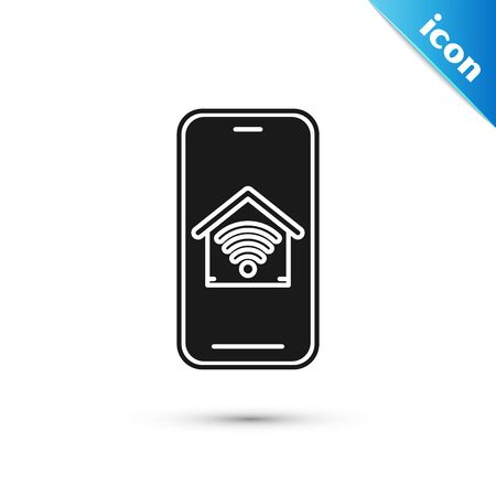 Black Mobile phone with smart home with wifi icon isolated on white background. Remote control. Vector Illustration Ilustração