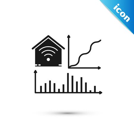 Black Smart home with wifi icon isolated on white background. Remote control. Vector Illustration