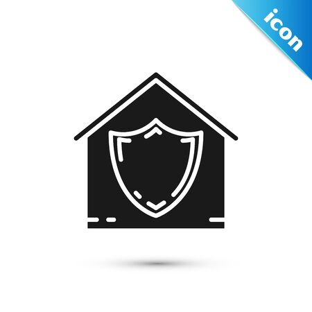 Black House under protection icon isolated on white background. Protection, safety, security, protect, defense concept. Vector Illustration