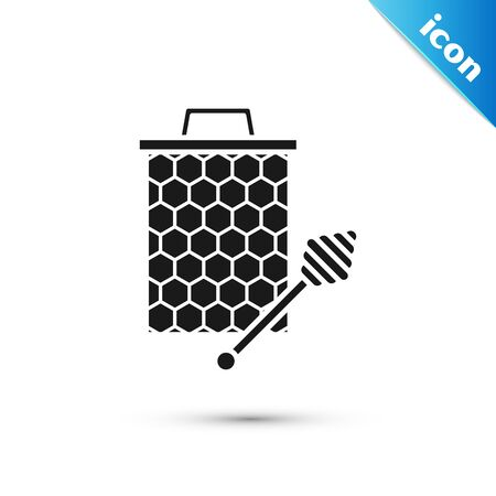 Black Honeycomb with honey dipper stickicon isolated on white background. Honey ladle. Honey cells symbol. Sweet natural food. Vector Illustration