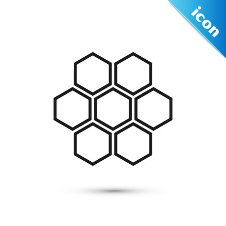 Black Honeycomb icon isolated on white background. Honey cells symbol. Sweet natural food. Vector Illustration