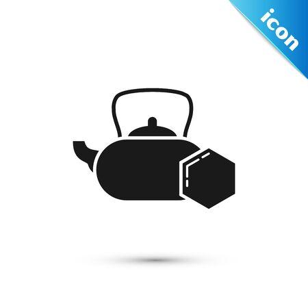 Black Tea kettle with honey icon isolated on white background. Sweet natural food. Vector Illustration Ilustração
