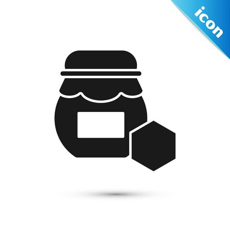 Black Jar of honey icon isolated on white background. Food bank. Sweet natural food symbol. Vector Illustration