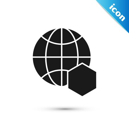 Black Honeycomb map of the world icon isolated on white background. World bee day. Concept ecological event. Vector Illustration