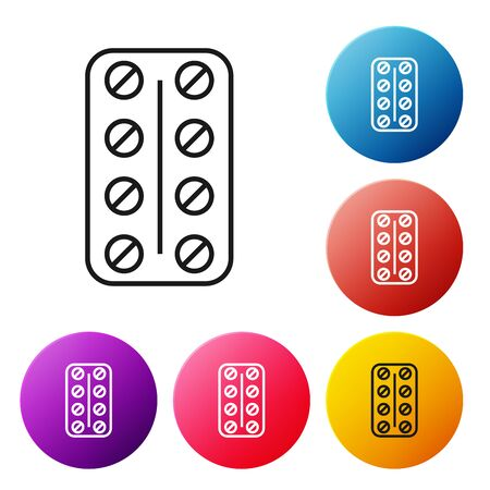 Black line Pills in blister pack icon isolated on white background. Medical drug package for tablet vitamin, antibiotic, aspirin. Set icons colorful circle buttons. Vector Illustration