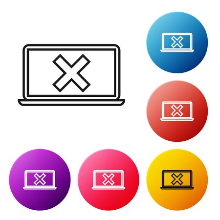 Black line Laptop and cross mark on screen icon on white background. Error window, exit button, cancel, 404 error page not found concept. Set icons colorful circle buttons. Vector Illustration Stock Illustratie