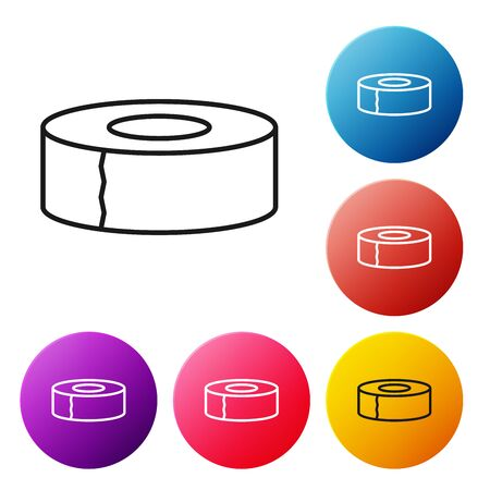 Black line Scotch icon isolated on white background. Roll of adhesive tape for work and repair. Sticky packing tape. Office tool and stuff. Set icons colorful circle buttons. Vector Illustration