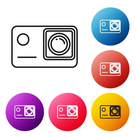 Black line Action extreme camera icon isolated on white background. Video camera equipment for filming extreme sports. Set icons colorful circle buttons. Vector Illustration Иллюстрация