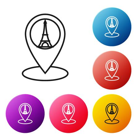 Black line Map pointer with Eiffel tower icon isolated on white background. France Paris landmark symbol. Set icons colorful circle buttons. Vector Illustration