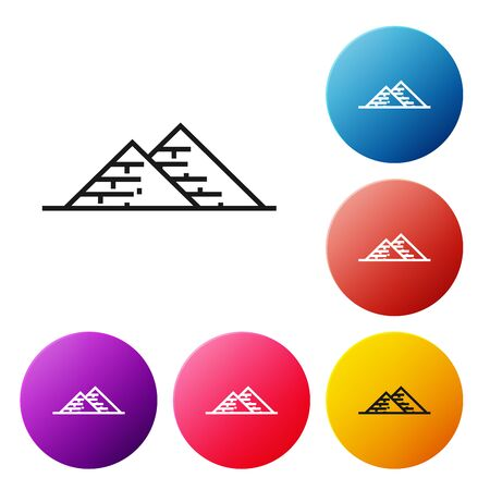 Black line Egypt pyramids icon isolated on white background. Symbol of ancient Egypt. Set icons colorful circle buttons. Vector Illustration Imagens - 128660596