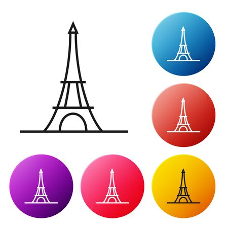 Black line Eiffel tower icon isolated on white background. France Paris landmark symbol. Set icons colorful circle buttons. Vector Illustration