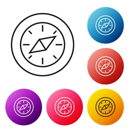 Black line Compass icon isolated on white background. Windrose navigation symbol. Wind rose sign. Set icons colorful circle buttons. Vector Illustration