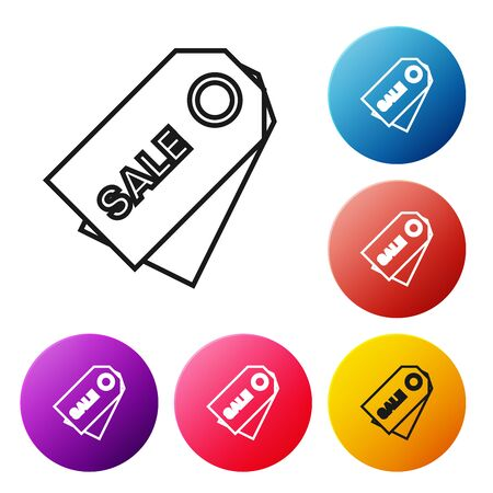 Black line Price tag with an inscription Sale icon isolated on white background. Badge for price. Promo tag discount. Set icons colorful circle buttons. Vector Illustration Stock Illustratie