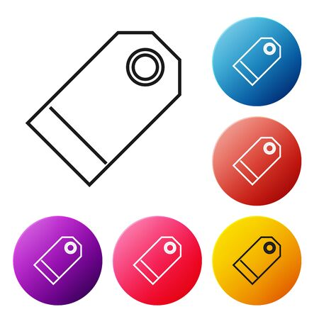 Black line Blank label template price tag icon isolated on white background. Empty shopping discount sticker. Template discount banner. Set icons colorful circle buttons. Vector Illustration