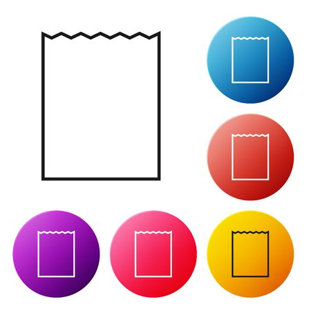 Black line Paper shopping bag icon isolated on white background. Package sign. Set icons colorful circle buttons. Vector Illustration