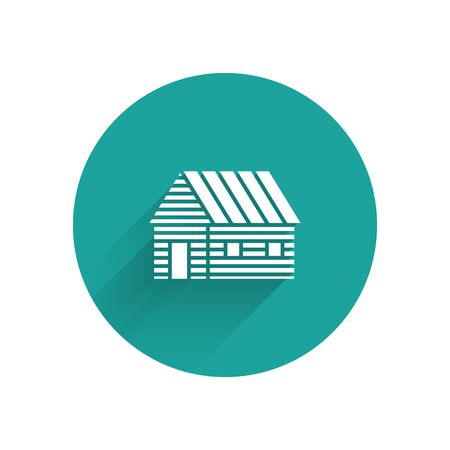White Farm house icon isolated with long shadow. Green circle button. Vector Illustration Ilustracja