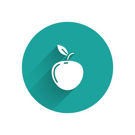 White Apple icon isolated with long shadow. Fruit with leaf symbol. Green circle button. Vector Illustration